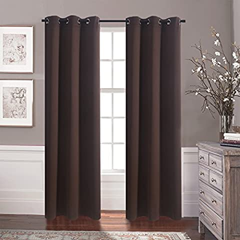 Eyelet Blackout Curtains Window Treatment - Aquazolax Premium Thermal Insulated Blackout Drapery Solid Curtains for Bedroom Room Darkening, 2 Panels Set, 42