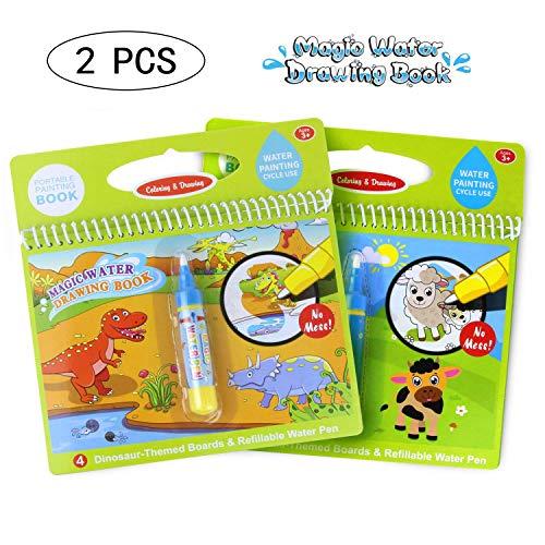 Zeichnung Buch Wasser Malbuch Doodle mit Magic Pen Malerei Board für Kinder Bildung Zeichnung Spielzeug (Dinosaurier Welt & Cartoon Tier) ()