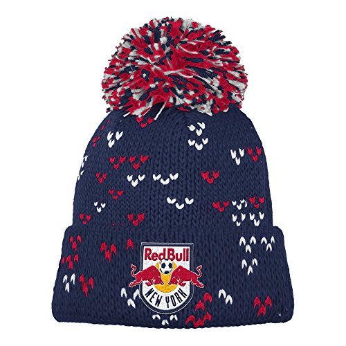 adidas MLS New York Red Bulls Damen Fan Wear Cuffed Pom Knit Beanie, One Size, Blau