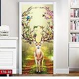 Loui's Home Stickers de Porte 3D Effet DécorationElk - décoration de la Porte 30...