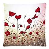 Hidoon® Impresionante patrón de flores de amapola Arte Pintura personalizada cremallera funda de almohada almohada casos de la cubierta decorativa casera de 18x18 pulgadas