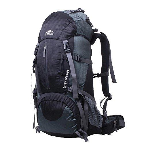 Topsky 60L del pacchetto della pagina Grande impermeabile zaino di campeggio d'escursione rampicante Backpacking con la copertura della pioggia (arancia) nero