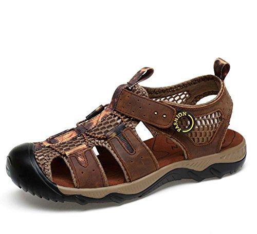Onfly Männer Jungen Geschlossene Zehe Leder Beiläufig Sandalen Hausschuhe Rutschfest Atmungsaktiv Gehen Draussen Sandalen Wasser Schuhe Lässige Sneakers Strandschuhe Athletische Sandalen Kreuz Dark Brown