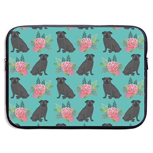 Black Pug Dog Floral 13-15 Zoll Laptop Sleeve Tasche tragbare Dual Zipper Case Cover Tasche Inhaber Tablet Tasche, wasserdicht, schwarz, 15 Zoll Samsonite Laptop Roller