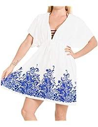 96a7007aa810 LA LEELA Women's Summer Holiday Solid Plain Drawstring Rayon Bikini Cover Up  Sun Swimwear Beachwear Embroidered