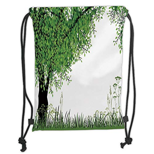 OQUYCZ Drawstring Sack Backpacks Bags,Nature,Tree Grass at Park Herbs Summer Season Eco Environment Mother Earth Image Decorative,Fern Green Black Soft Satin,5 Liter Capacity,Adjustable String