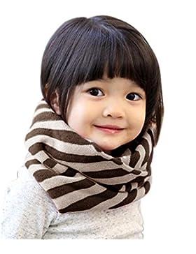 Lucky Will Winter Gestreift Loop Schlauchschal Schal Strickschal Rundschal für Baby Kinder Mädchen kaffee