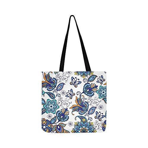 Bunte Blumen Flores Tulpen Blätter Canvas Tote Handtasche Schultertasche Crossbody Taschen Geldbörsen für Männer und Frauen Einkaufstasche -