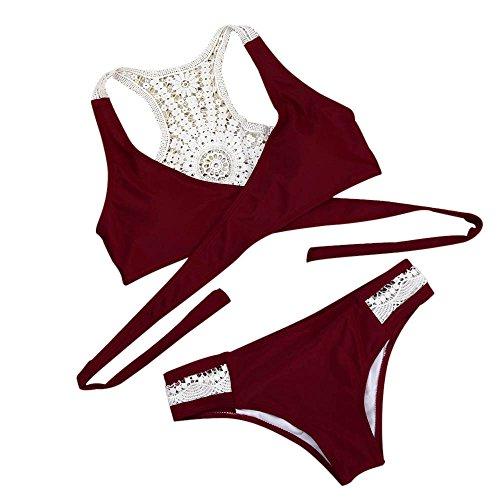 ini,TWBB Sexy Einfarbig Sling Bikini Bikini mit niedriger Taille Push-up gepolsterter BH Badeanzug Bademode Beachwear Badeanzug Bikini Set (S, Rot) (Sportliches Mädchen-bekleidung)
