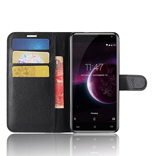 Black Magic Wallet (SMTR Cubot magic Wallet Tasche Hülle - Ledertasche im Bookstyle in Schwarz - [Ultra Slim][Card Slot][Handyhülle] Flip Wallet Case Etui für Cubot magic)