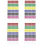 Oblique Unique® Markierungspunkte 448 Klebepunkte I Durchmesser 8 mm I 4 Blatt I Farben jeweils 64 Stück Rot Grün Gelb Blau Schwarz Pink & Weiß