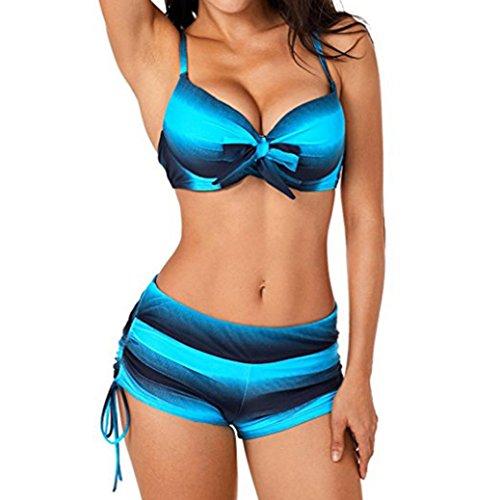 Huihong Damen Bikinis Sommer Streifen Farbverlauf Farbe Blocked Bikini Sets Badeanzug mit Boyshorts Brazilian Style (Blau, EUR:38-CN:S) (Micro Mini Jumper)
