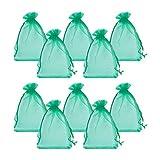 PandaHall 100PCS Sacchetti Regalo Organza Pacchetti Saccgetti Portaconfetti per Gioielli Perline, Rettangolo, Verde, circa 10cm di larghezza, 15cm di lunghezza