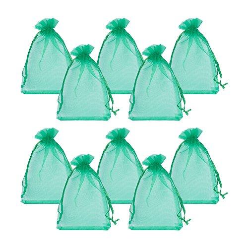 15 Grüne (pandahall 100pcs Geschenktüten Organza Pakete saccgetti konfektschachtel für Schmuck Perlen, Rechteck, Schwarz, ca. 10cm breit, 15cm lang 10x15CM grün)