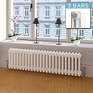 iBathUK | 300 x 1000 mm Traditional Cast Iron Style Horizontal Radiator White 3 Column