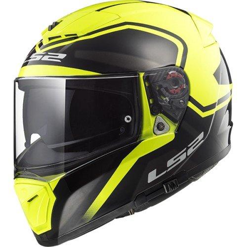 LS2 Cascos de Motocicleta Bold, Negro/Amarillo, Talla L