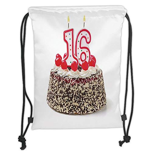 Fashion Printed Drawstring Backpacks Bags,16th Birthday Decorations,Delicious Cake with Burning Candle and Cherry Yummy Dessert Image,Multicolor Soft Satin,5 Liter Capacity,Adjustable String Closu Satin-dessert