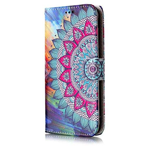 ISAKEN Compatibile con Samsung Galaxy J5 2017 Cover - Libro Wallet Flip Portafoglio Custodia in PU Pelle Sollievo Pattern Anti Slip Caso con Supporto di Stand/Carte Slot/Chiusura - Tribal Fiori