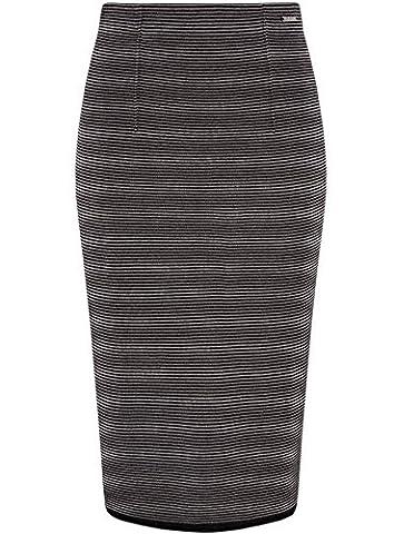 oodji Collection Damen Jersey-Bleistiftrock mit Feinen Streifen, Grau, DE 38 / EU 40 / M