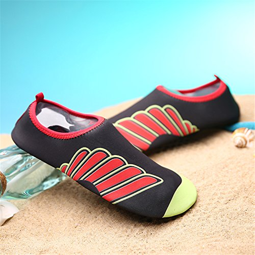 Blion Strandschuhe Aquaschuhe Surfschuhe Barfußschuhe Wasserschuh Schwimmschuhe Badeschuhe für Damen Herren Kinder 11 Rot