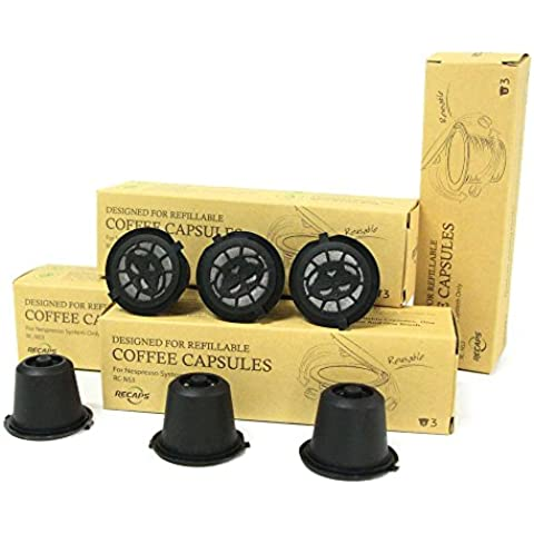 6 tazas / set Nespresso Cápsula recargable recargable Nespresso cápsulas recargables de Repuesto de 200 veces Expressi café de la