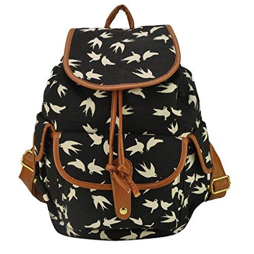 Damen Mädchen Casual Vintage Canvas Haltbare Segeltuch Taschen Reisetaschen Sporttaschen Schultaschen Rucksack Wanderrucksack Multifunktionsrucksack - Schwalbe Muster- Schwarz -