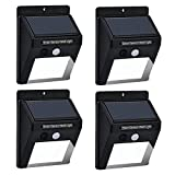 Solar Motion Sensor Lights Acnet 20 LED Waterproof Solar Energy Powered Security Light Outdoor Bright Light Wall Lamp Night Lights for Garden, Fence, Patio, Deck, Yard with Motion Activated Auto On/Off (4-Pack)