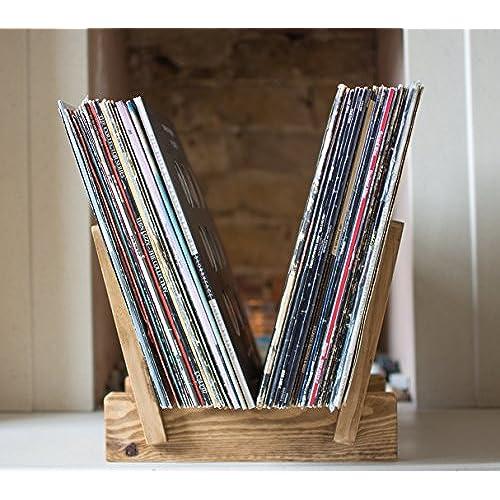 Vinyl Record Storage, Vinyl Record Display, LP Flip Rack, Tudor Oak Colour,  Solid Wood, Record Holder
