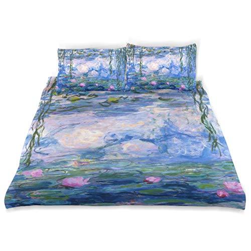 Vipsa Bettbezug-Set Claude Monet Seerosen Gemälde Muster 3-teilig Bettwäsche Garnitur 100% Baumwolle mit Reißverschluss Bio-Modern Bettset Full/Queen (Bettwäsche Set Bio-queen)