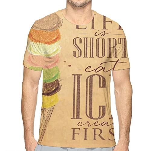 3D Printed T Shirts for Mens,Vintage Life is Short Eat Ice Cream First Typography with Colorful Scoops On Cone M
