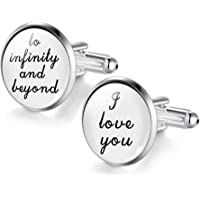 Yellow Chimes Elegant Gift Infinity Love Message Silver Cuff Links for Men and Boys