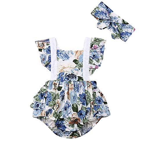 squarex Sommer Baby Mädchen Blumendruck Overall Spitze Rüschen Strampler Backless Body Sleeve Strampler Hoodie Folding Dress + Stirnband -
