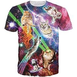 HWHColor Hombres ojos del laser Gatos camiseta del espacio divertido de la camiseta gráfica