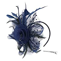 MMOOVV Flower Feather Headband Fascinator Wedding Headwear Ladies Race Headband Pearl Charleston Party Bridal Headpiece YP Wedding Cocktail Tea Party Derby Hat For Women (Navy)