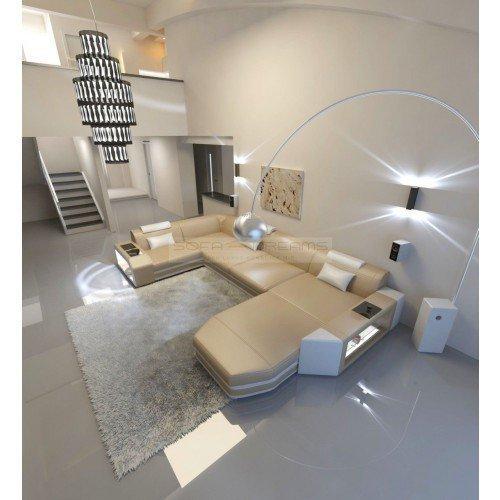 Intérieur de la maison Presto forme U beige sable - Blanc Canapé d'angle Canapé en cuir ital. Design