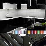 Liveinu Aufkleber Küchenschränke PVC Tapeten Küche Selbstklebend Klebefolie Möbel Wasserfest Aufkleber für Schrank Küchenschränke Möbel Selbstklebende Folie Küchenschrank Küchenfolie Dekofolie Schwarz 0.6x5m