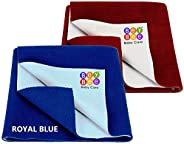 BeyBee Waterproof Baby Bed Protector Dry Sheet for New Born Babies Gifts Pack, (Medium Combo of 2, Royal Blue/