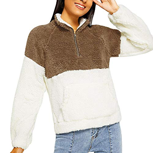 Pullover Damen Liusdh Double-Faced Pile Flauschiger High Neck Farbblock (2 Farben) Fleece Sweatshirt Outwear(Khaki,S)