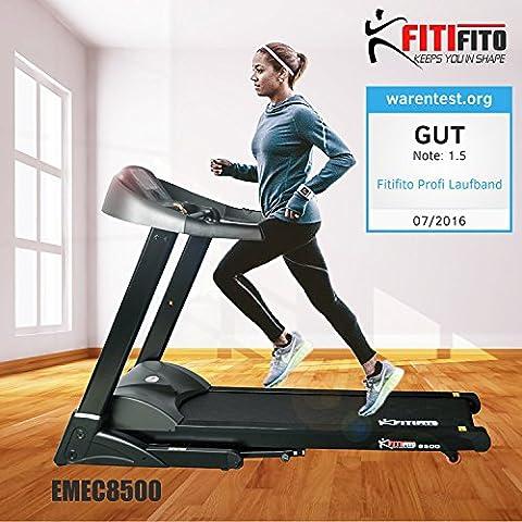 Fitifito EMEC8500 Cinta para correr profesional, entrenamiento en casa, 7 CV con 5 módulos de entrenamiento, de color negro, abatible con amortiguación, pantalla