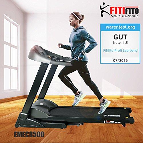 Fitifito 8500 Profi Laufband 7PS 22km/h mit LED Bildschirm, Dämpfungssystem, 5 Trainingsmodulen inkl. HRC - Klappbar, Schwarz