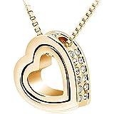 Scpink Angebote Halskette Womens Natural Edelstein Kristall Reiki Silber Stein Perlen Anhänger Halskette Schmuck (Gold)