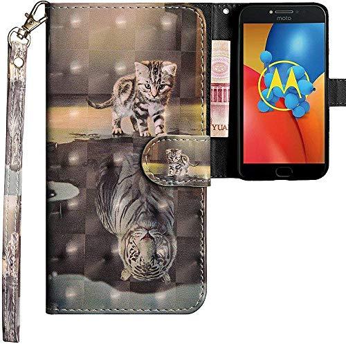 CLM-Tech kompatibel mit Motorola Moto E4 Plus Hülle, Tasche aus Kunstleder, Katze Tiger grau, PU Leder-Tasche für Moto E4 Plus Lederhülle