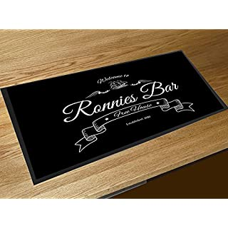 Artylicious Personalised welcome black bar runner pub mat ANY NAME