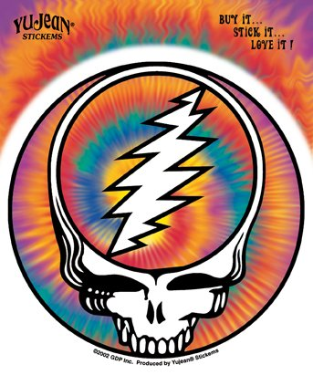 Grateful Dead - Steal Your Face Groovy Tie Dye Lightening Bolt autocollant Sticker - 4.75