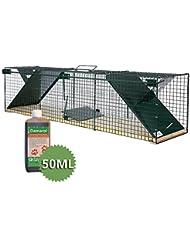 MoorlandTrampa animales vivos - Martas Gatos Zorros - 116x28x28cm - 2 Entradas - Suelo madera Safe 6044 - Con Feromona