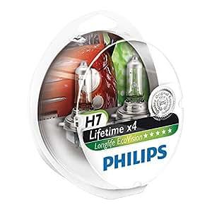 philips 12972llecos2 lot de 2 ampoules de phare longlife ecovision h7 auto et moto. Black Bedroom Furniture Sets. Home Design Ideas