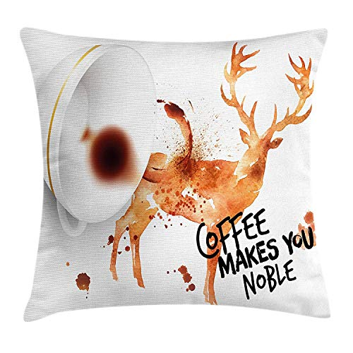 Trsdshorts Coffee Art Throw Pillow Cushion Cover, Drink Beverage Inspirational Phrase with Deer Big Antlers Nature, Decorative Square Accent Pillow Case, 18 X 18 inches, Burnt Sienna Black White - Sienna Paisley
