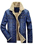 MatchLife Classics Herren Jeansjacke Winter Denim Jacket Gefütterte Jeans Jacke Winterjacke Style2-Hellblau XL