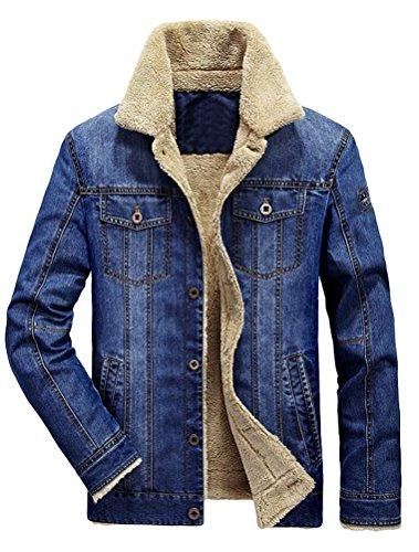 MatchLife Herren Herbst Winter Jeansjacke Classic Jacke-Style2-Hellblau-2XL