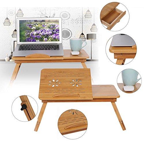 Laptoptisch Bambus Laptop Ständer höhenverstellbar Notebooktisch Betttablett - Asiatische Tischplatte